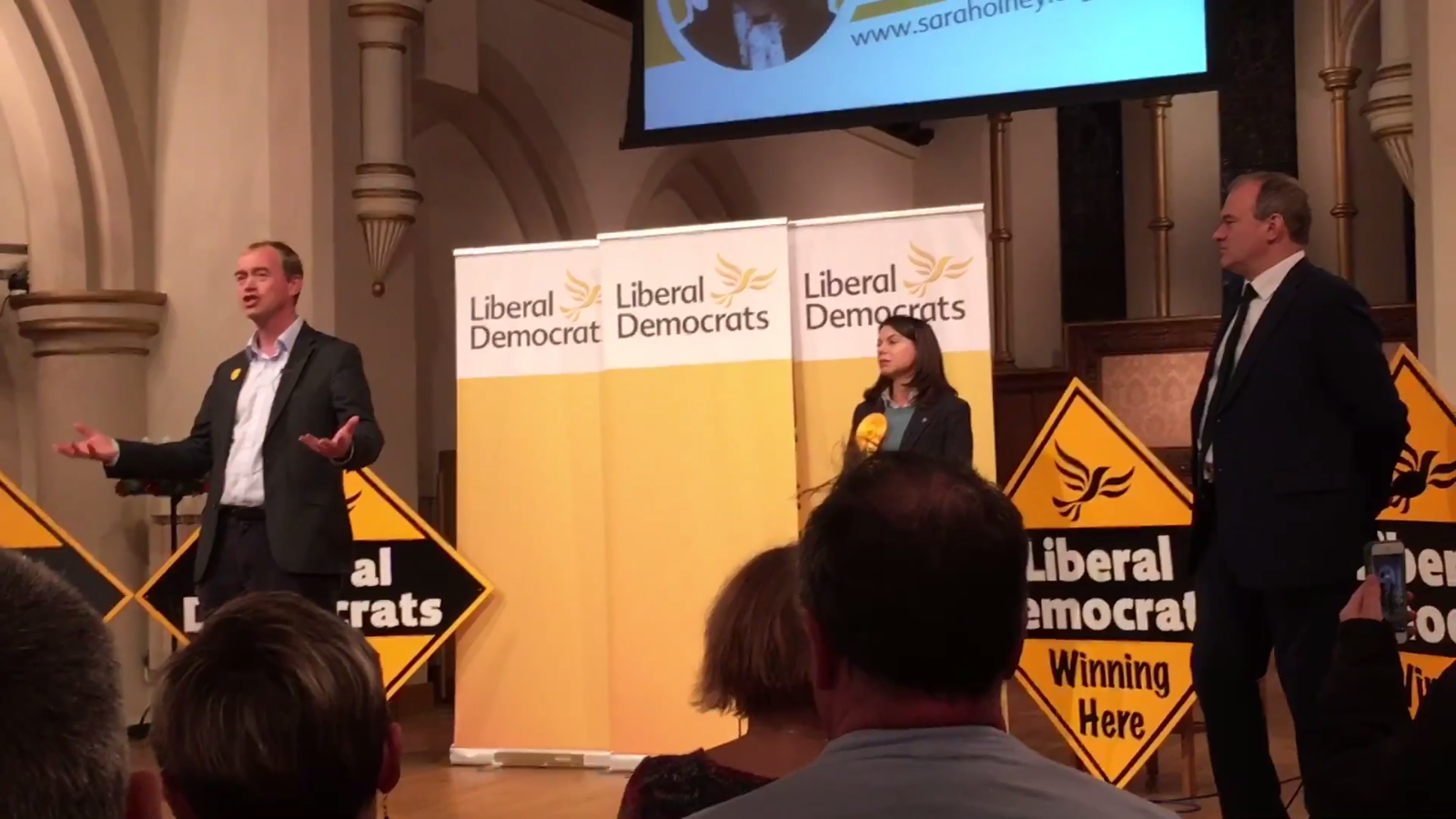 Lib Dem leader Tim Farron speaking to an audience with Richmond Park candidate Sarah Olney and former minister Ed Davey
